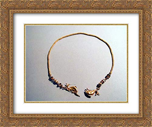 (Greek Culture - 24x20 Gold Ornate Frame and Double Matted Museum Art Print - Gold Chain with Dolphins and Glass Beads )