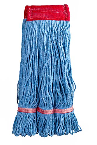 Supply Guru Commercial Mop Head, Universal Headband, Blended Yarn, With Nylon Scrubbing Pad, Large, 24-Ounce, 4-Ply, Blue.
