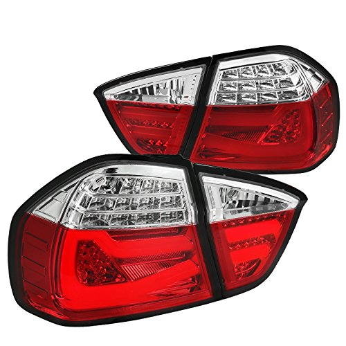 Red/Clear BMW E90 3-Series 4Dr Sedan LED Parking Brake Lamps Tail Lights Pair