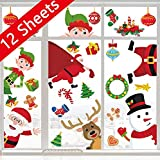 window decoration ideas 90shine Christmas Window Clings Snowflake Decorations - Winter Wonderland Xmas Party Supplies - Santa Claus Elf Reindeer Peeking Decals 62pcs