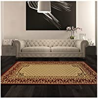 Superior Longfield Collection 27 x 8 Runner Rug, Attractive Rug with Jute Backing, Durable and Beautiful Woven Structure, Oriental Rug Design with Detailed Border - Ivory
