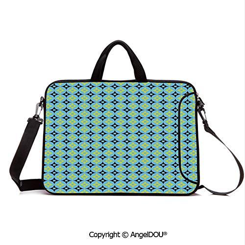 AngelDOU Laptop Shoulder Bag Waterproof Neoprene Computer Case Star Design Vivid Circles Geometric Shapes Floral Nature Inspired Pattern Decora with Handle Adjustable Shoulder Strap and External Sid