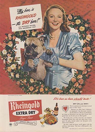 Miss Rheingold Beer Michaele Fallon ad 1947 Valtnine flowers & bulldog NY