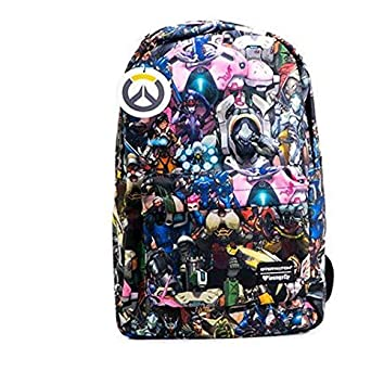 3deb0f0852e Amazon.com  Loungefly Overwatch All-Over-Print Characters Backpack ...