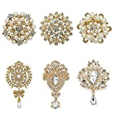 WeimanJewelry Silver/Gold Plated 24pcs Crystal Rhinestones Brooch Pins for DIY Wedding Bouquets Kit (Gold large 6pcs)