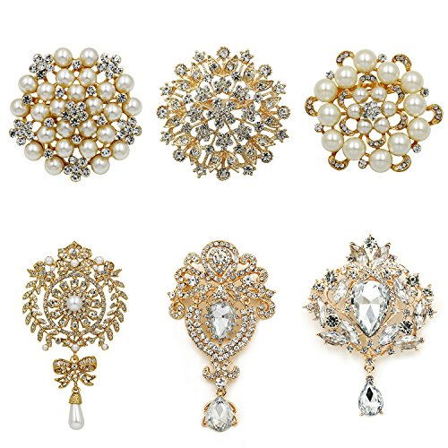 WeimanJewelry Gold Plated Assorted Crystal Rhinestones Brooch Pins for DIY Wedding Bouquets Kit (Gold Large 6pcs)