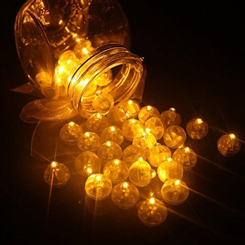 100pcs LED Mini Round Ball Balloon Light, Long Standby Time Ball Lights for Paper Lantern Balloon Halloween Party Wedding Decoration (Yellow) -