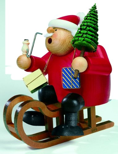 Cl Sleds - KWO Santa on Sled German Christmas Incense Smoker Handcrafted in Germany New