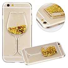 Galaxy S6 Edge Plus Liquid Case,Sexy Lip Diamond Goblet Wine Glass Floating Liquid Bling Glitter Sparkle Moving Stars TPU Edge Case for Samsung Galaxy S6 Edge Plus (a Gold)