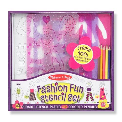 Melissa & Doug Fashion Fun Stencil Set: 4 Stencil Sheets, 5 Colored Pencils, and ()