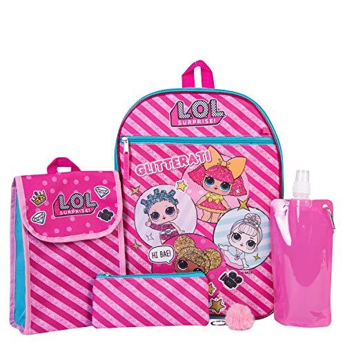 L.O.L. Conjunto combinado de mochila sorpresa - Conjunto de mochila de 6 piezas para niñas - L.O.L. Mochila sorpresa y kit de almuerzo (rosa fuerte)