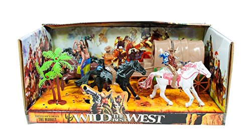 LilPals10 PC Wild West Cowboy & Native American Play Set - Includes Dual Horse Drawn Wagon, 4 Horses, 2 Cowboys, 2 Native Americana & An Authentic Wild West Setting