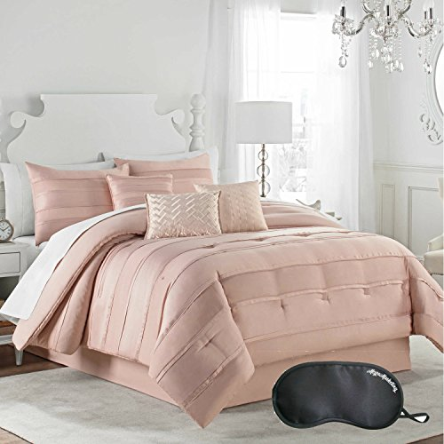 NEW! Matte Satin Pleated Luxury Elegant 7-Piece KING Size Comforter Set in Pink Blush with Sleep (King Size Oak Poster Bed)