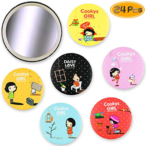 BeautyMood 24PCS Compact Makeup Mirror, Lovely Cosmetic Makeup Small Round Mirror Purse Hand Mirror Compact Portable Pocket Mirror Cosmetic Mirror (Random -
