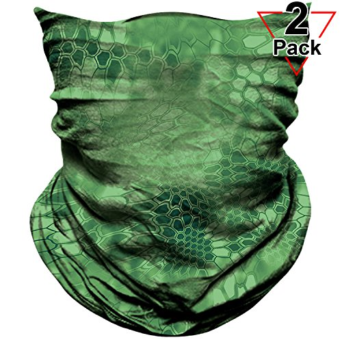 (AXBXCX 2 Pack - Neck Gaiter Elastic Seamless Moisture Wicking Headband Bandana Face Mask Sun Protection Magic Scarf for Running Yoga GYM Hunting Tennis Fishing Riding Cycling Outdoor Sport Green 070)