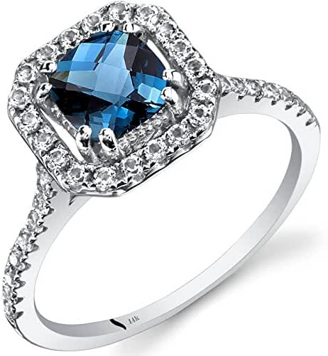 14K White Gold London Blue Topaz Cushion Cut Halo Ring 1.00 Carats Sizes 5 to 9