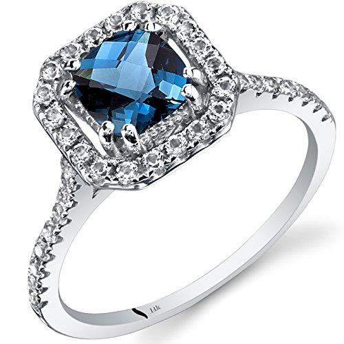 14K White Gold London Blue Topaz Cushion Cut Halo Ring 1.00 Carats Size 7 14k Gold Caribbean Topaz Ring