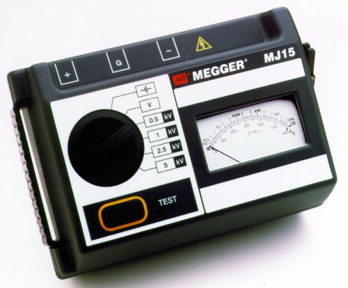 Megger MJ15 5kV Analog Insulation Tester, Hand-Cranked and Battery Powered