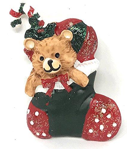 Bear Christmas Stocking.Amazon Com Teddy Bear Christmas Stocking Holiday Pin