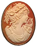 Cameo Pin Pendant Classic Master Carved Sterling Silver 18k Gold Overlay Italian Conch Shell