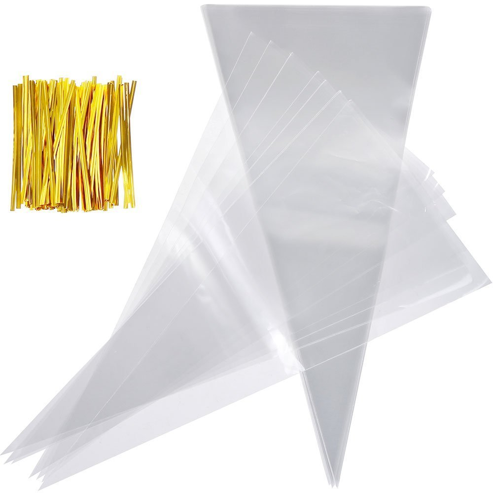Faburo 100pcs Clear Cellophane Bags for Sweets Clear Sweet Cone Bags and Ties for Party Christmas and Festivals