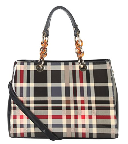 Plaid Shoe Bag (Diophy Shiny Patent PU Leather Plaid Pattern Tote with Faux Agate Ring Décor)