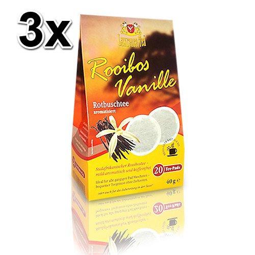 3x Lawrence Tea Pads Rooibos-Vanille, Rooibostee (20 Teepads) für Senseo