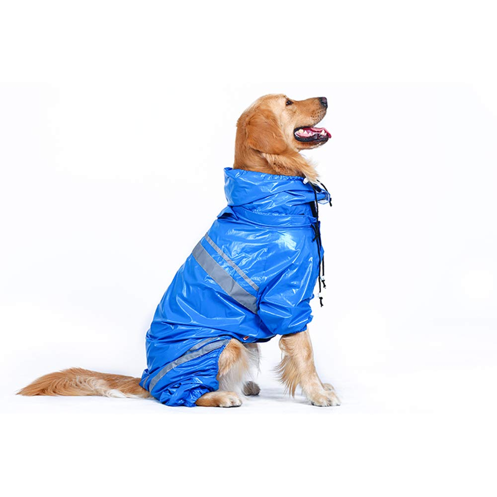 Pessica Medium and large dog four-leg raincoat, pet waterproof poncho, breathable, wear-resistant, reflective [bluee, 4XL]
