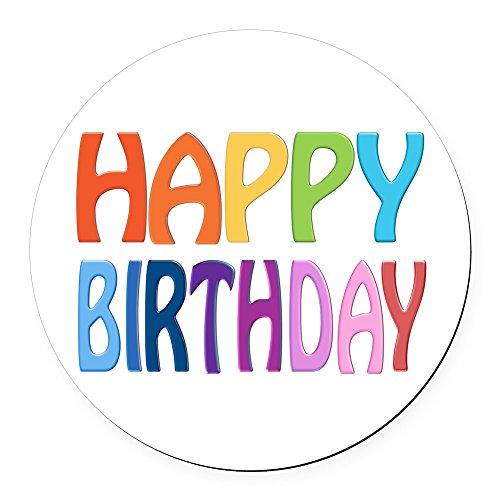 CafePress - Happy Birthday - Happy Round Car Magnet - Round Car Magnet, Magnetic Bumper Sticker