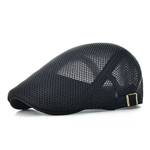 VOBOOM Men Breathable mesh Summer hat Adjustable Newsboy Beret Ivy Cap Cabbie Flat Cap MZ124 (Black)