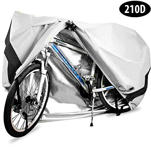 Bike Cover, 210D Heavy Duty Outdoor Waterproof Bicycle Covers UV Dust Sun Wind Proof with Lock Hole Protection for Mountain Road Bikes (Silver)