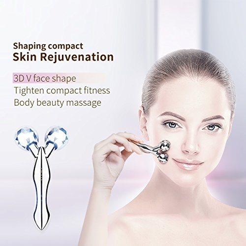 IMATE IM-1005S 3D Y Roller Facial Ball Face Massager Face Lift Kneading Body Slimming Skin Promote Blood Circulation Tighten Toner Silver
