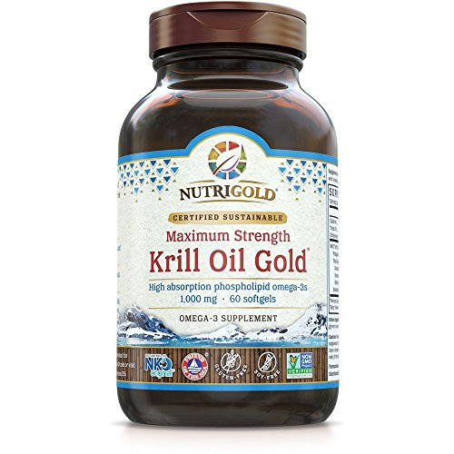 Maximum Strength Krill Oil Gold - 1000 mg, 60 soft gels IKOS 5-Star Certified, Hexane-free, Cold-Pressed Neptune Krill Oil with Astaxanthin