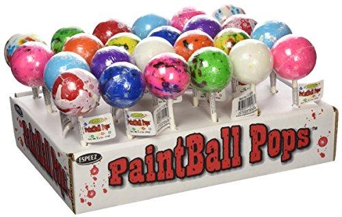Espeez Candy Paintball Pops Giant Jawbreaker Lollipops - 24 count display (Candy Paintbrush)