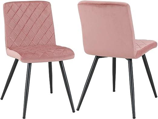 Esszimmerstuhl aus Stoff Samt Farbauswahl Stuhl Retro Design Polsterstuhl mit Rückenlehne Metallbeine Duhome 8043L, Farbe:Pink, Material:Samt