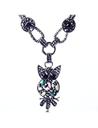 Qiyun Lovely Night Owl Resin White Bling Rhinestone Girls Neck Re sine Hibou Belle Nuit Filles Blanches Cou Collier