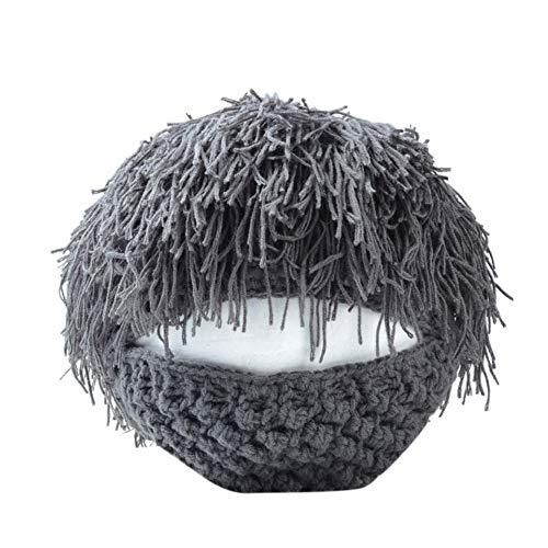 HSRG Sombrero De Beanie De La Peluca Bárbara De Lana De Invierno Sombrero De Punto Divertido Máscara Facial De La Barba Gray