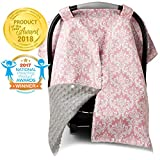 2 in 1 Carseat Canopy and Nursing Cover Up with Peekaboo Opening | Large Infant Car Seat Canopy for Girl | Best Baby Shower Gift for Breastfeeding Moms | Pink Damask Pattern with Champagne Minky
