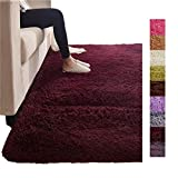 Wine Long Wool Floor Area Rug, Chair Seat Pad Luxury Shaggy Carpet Bedroom Sofa Floor, Housewarming Gift Your Family Friends 79''x118''