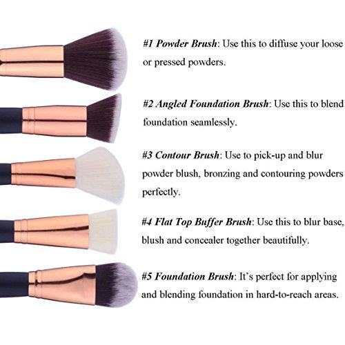 12 Pieces Makeup Brushes Set Foundation Blending Blush Concealer Eye Face Lip Brushes for Powder Liquid Cream Complete Makeup Brushes Kit Synthetic Bristles