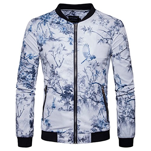 jackett Men's Spring and Summer Printing Casual Fashion Comfortable Slim Shirt Jacket Collar Jacket - Country Medium Wall Bracket