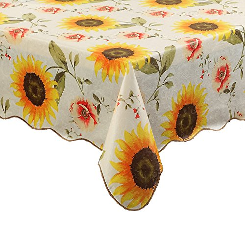 Artisan Flair AF6060-001 Sunflower Indoor Outdoor Vinyl Tablecloth Oblong(rectangle)-60