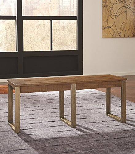 Ashley Furniture Signature Design - Dondie Dining Room Bench - Solid Pine Wood with Distressed Finish - Warm Brown by Signature Design by Ashley (Image #2)'