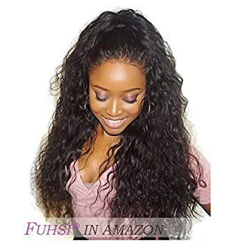 FUHSI Hair Loose Curly Wave Lace Front Wig Virgin Hair Glueless Human Hair with Baby Hair For African Americans 130% Density Natural Color 18inch