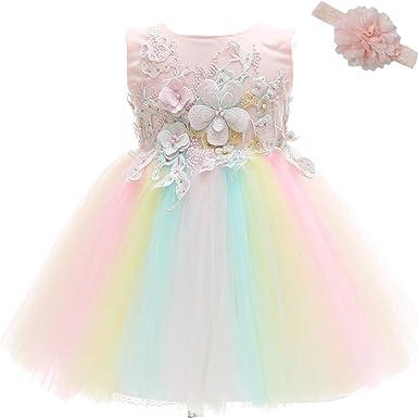 uk availability 13d43 b4da5 AHAHA Vestito Rose da Principessa Bambino per Matrimonio Abiti per Feste di  Compleanno per Bambina (0-2anni)