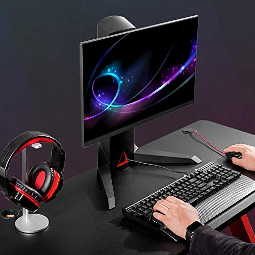 """PC Monitor Mount Stand - Single Arm Gaming Monitor Free-Standing Mount for 13""""~32"""" Computer Screen with Adjustable Tilt, Swivel, Rotation VESA 75 to 100mm Weight 4.4lbs to 17.6lbs with USB Port & Mult"""