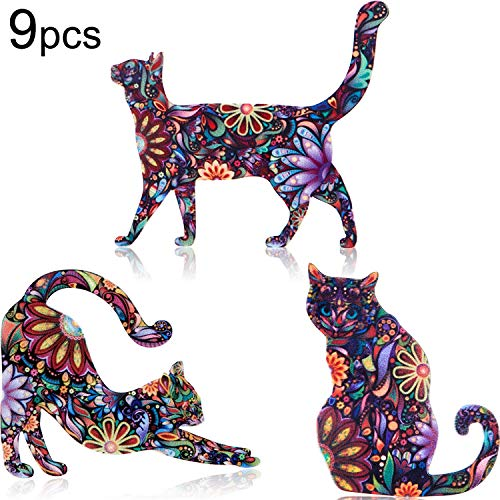 WILLBOND 9 Pieces Acrylic Cat Brooch Pin Cute Animal Pattern Lapel Pin Badges Accessory