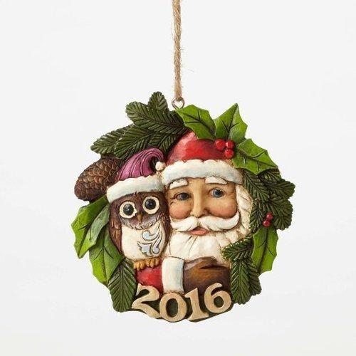 2016 Jim Shore Heartwood Creek Santa with Owl Wreath Christmas Ornament - Annual Ornament Dated