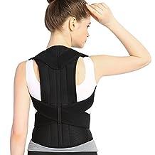ZJchao Adjustable Back Support Posture Corrector Brace Posture Correction Belt for Men Women Back Shoulder Support Belt (L)