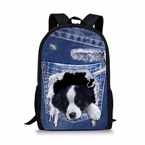 Sannovo Denim Border Collie Dog Animal School Bag Children Student Shoulder Backpack ()
